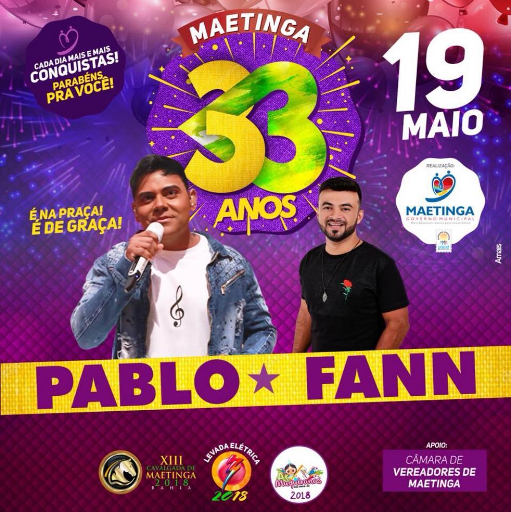 Pablo e Fann Estourado devem atrair grande público neste sábado no aniversário Maetinga