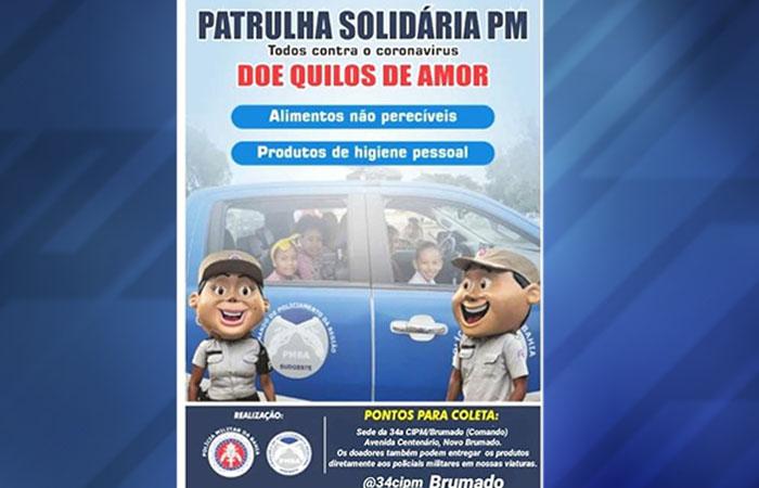 PM faz campanha para arrecadar alimentos para serem entregues as famílias carentes em Brumado