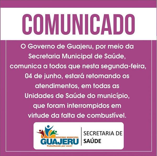Secretaria de Saúde de Guajeru informa retomada de atendimentos em todas as unidades
