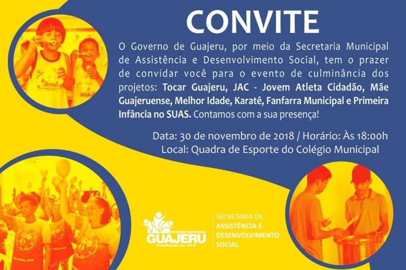 Guajeru: Secretaria de Assistência Social realizará culminância de diversos projetos