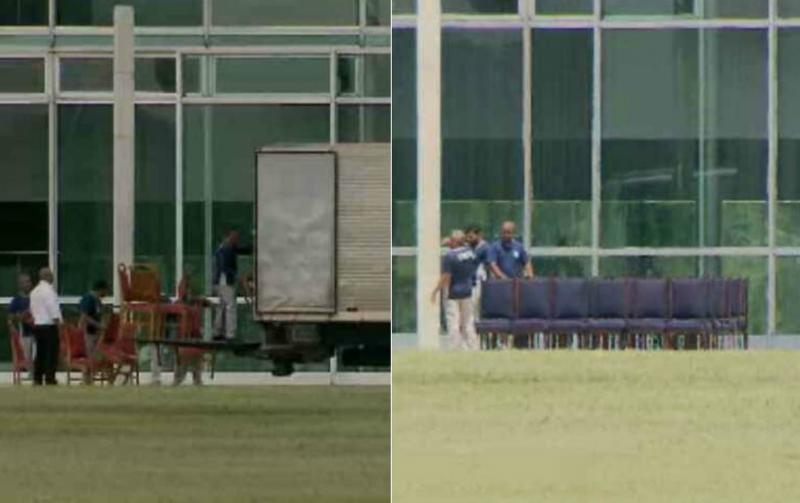Bolsonaro e Michelle se mudam para o Alvorada; cadeiras vermelhas são trocadas por azuis