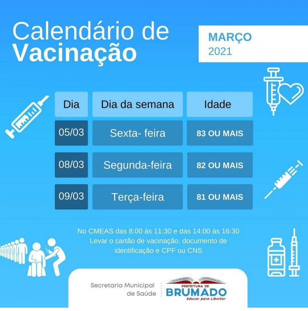 Brumado: Confira o Calendário de Vacinação Covid-19 para idosos