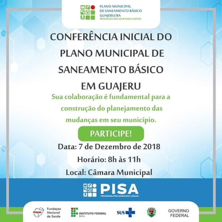 Conferencia do Plano Municipal de Saneamento Básico será realizado em Guajeru