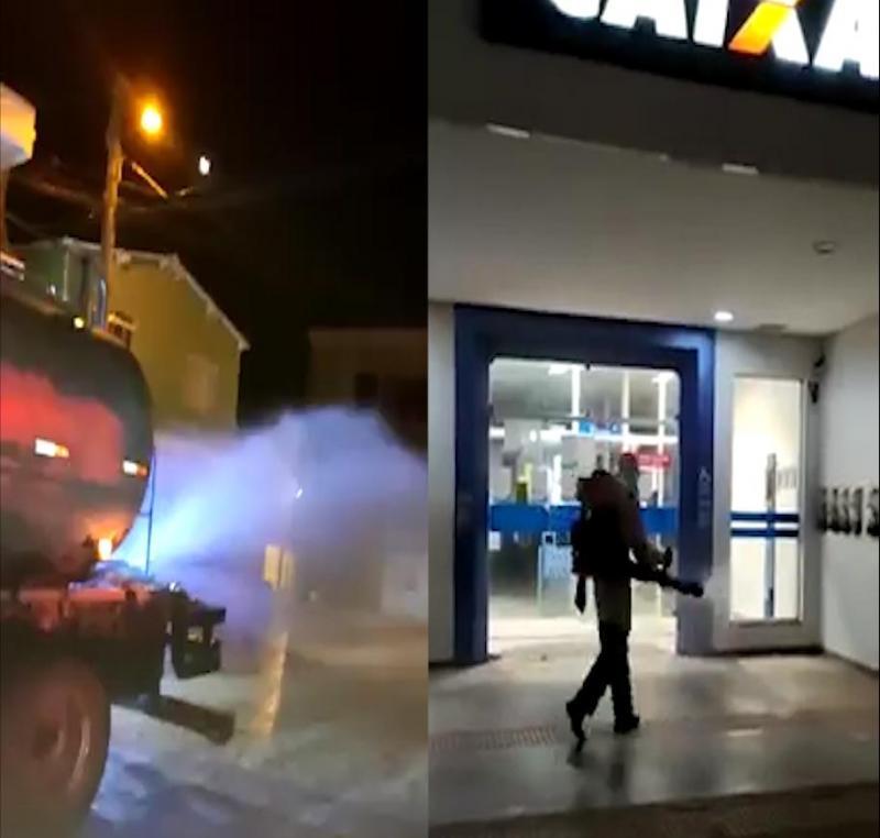 Prefeitura de Barra da Estiva realiza desinfecção de ruas comerciais em ação de combate ao coronavírus