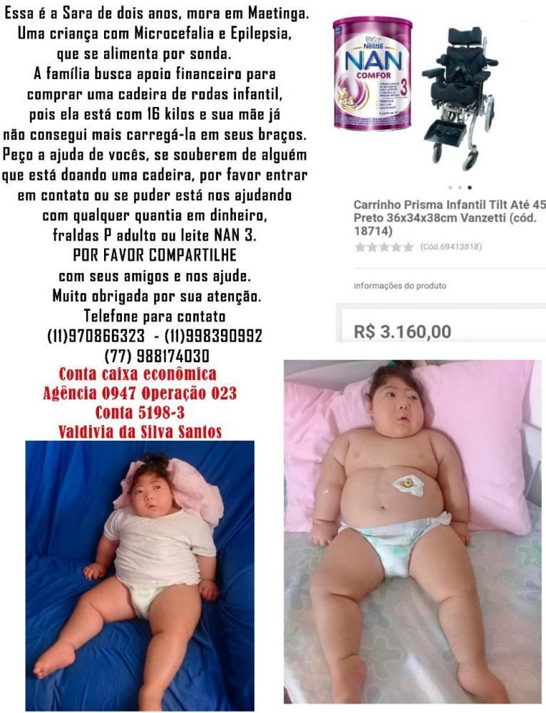 Maetinga: Ajude a pequena Sara na compra de uma cadeira de rodas infantil