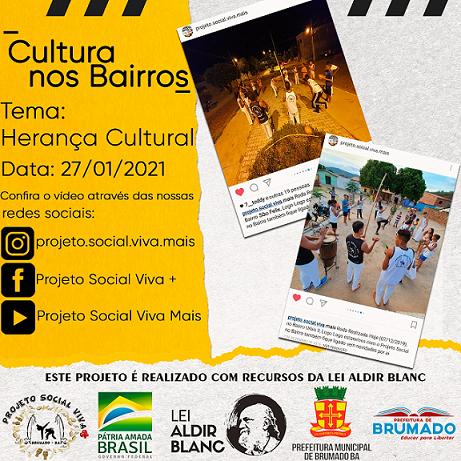 Brumado: Live 'Cultura nos Bairros' será transmitida dia 27 de janeiro