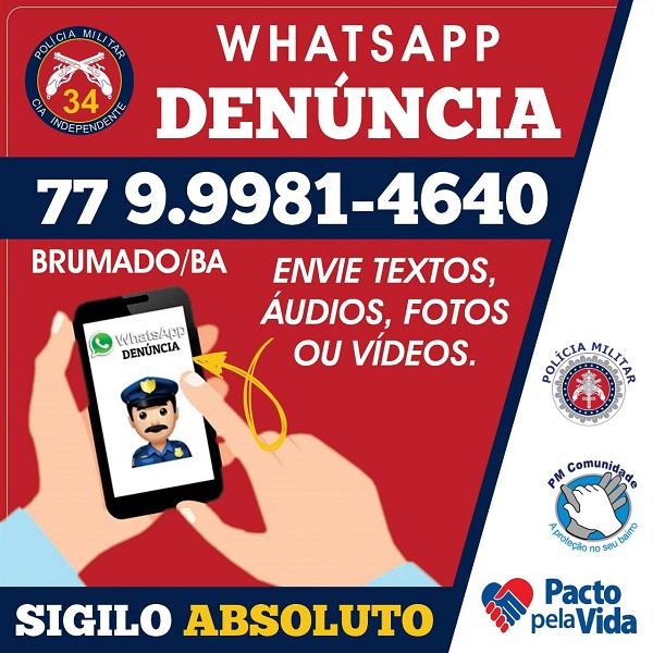 34ª CIPM disponibiliza WhatsApp para denúncias, totalmente seguro e com anonimato garantido