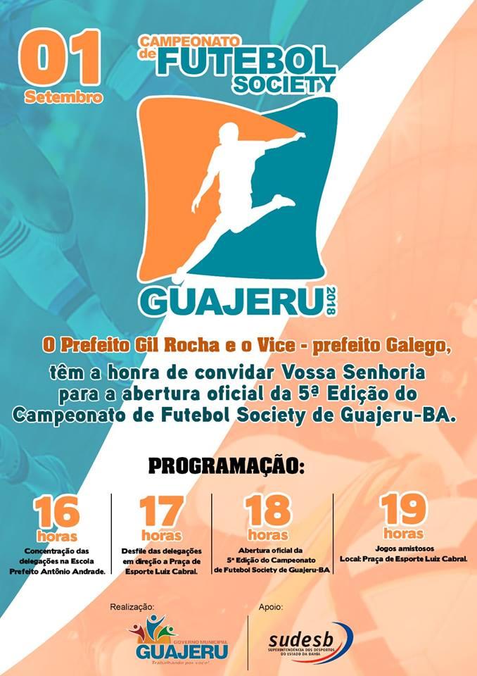 Guajeru: 5º edição do Campeonato de Futebol Society tem início neste sábado (01)