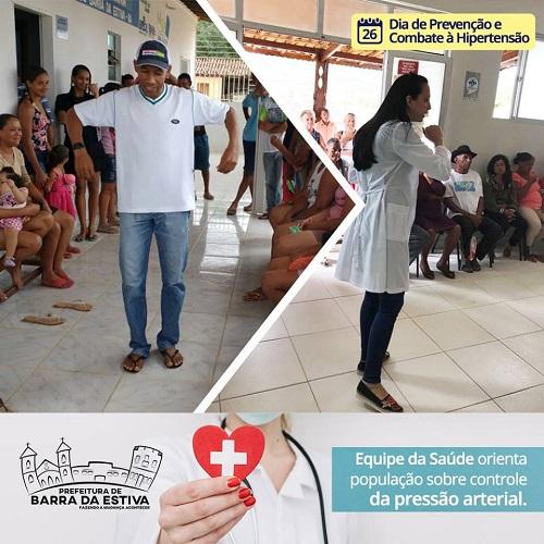 Secretaria Municipal de Saúde de Barra da Estiva realiza atividades em relação ao Dia Nacional de Prevenção e Combate à Hipertensão Arterial