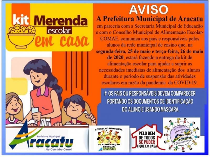 Prefeitura de Aracatu realiza entrega de Kit Alimentação para alunos da rede municipal