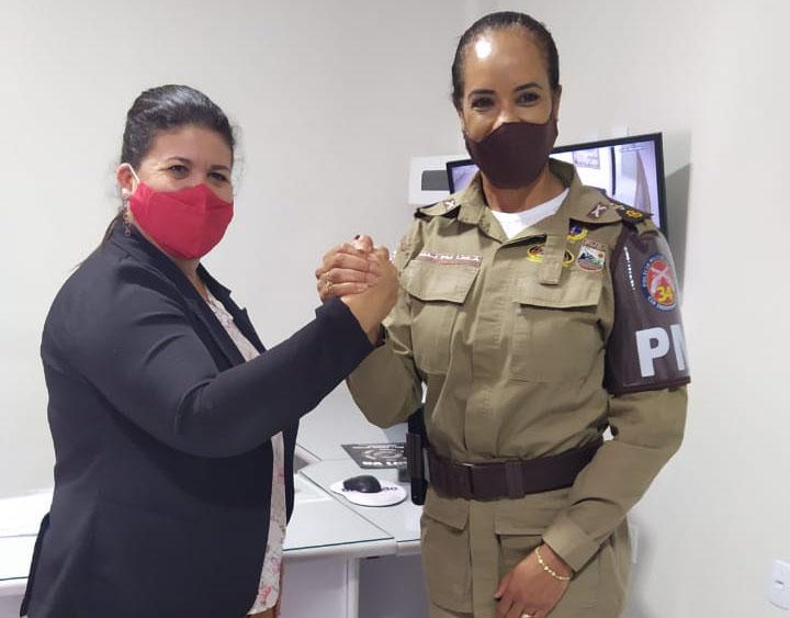 Presidente da Câmara de Vereadores recebe visita da comandante da 34ª CIPM, Major Leila