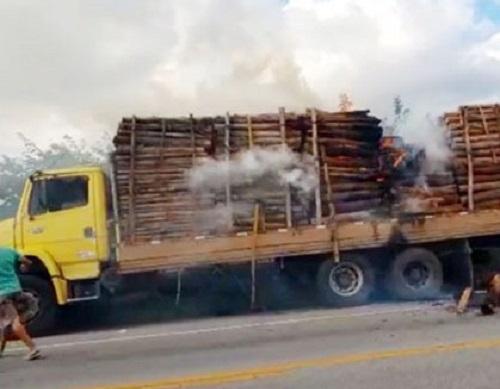 BA-262: carga de eucalipto pega fogo próximo a Aracatu