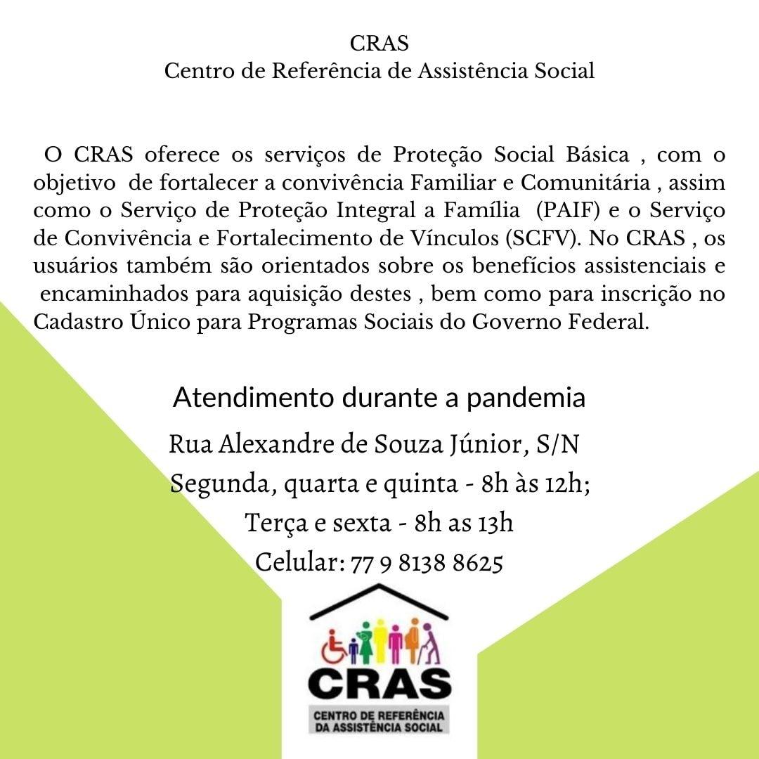 Aracatu: CRAS informa horários de atendimento durante a pandemia