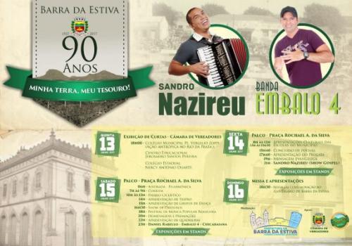 Barra da Estiva completa 90 anos de emancipação política; programação de aniversário começa hoje (13)