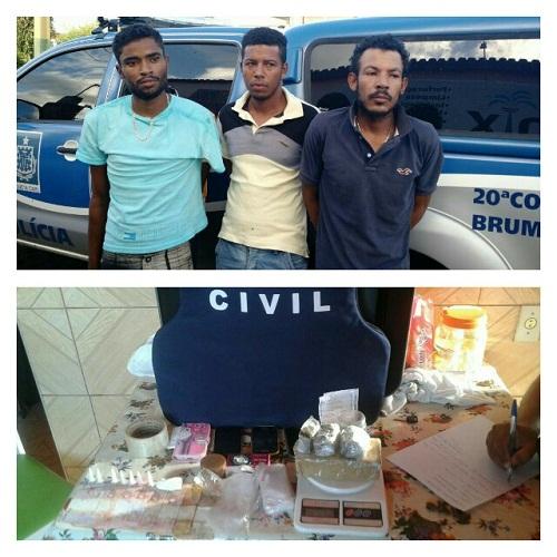 Três indivíduos são presos e drogas apreendidas em operação da Polícia Civil em Ituaçu