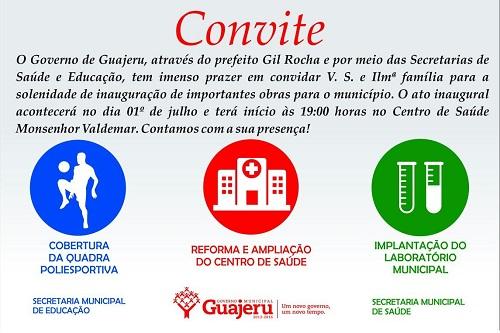 Governo de Guajeru entregará mais 3 obras no dia 01 de Julho