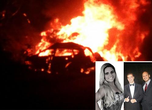 Carro de passeio e caminhão pegam fogo após colisão frontal na BR -030; ocupantes do carro de passeio morreram carbonizados