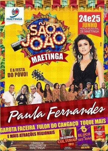 Após Psirico no aniversário da cidade, agora é a vez de Paula Fernandes no São João de Maetinga