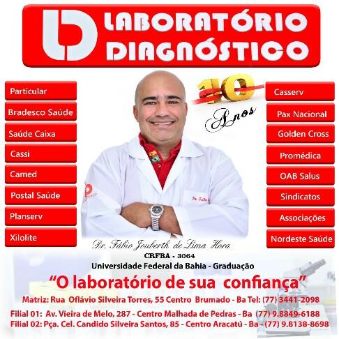 Laboratório Diagnóstico comemora 10 anos de serviços prestados com excelência a Brumado e região.