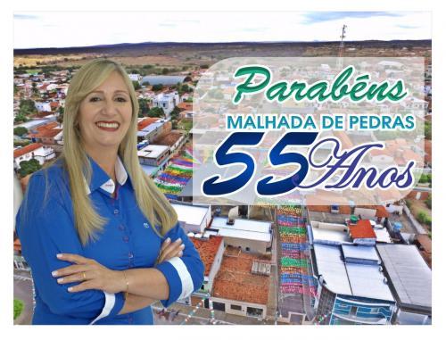 Malhada de Pedras completa 55 anos de emancipação política e recebe os parabéns da prefeita Terezinha
