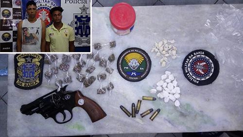 Duas pessoas são presas e arma e drogas apreendidas em ação conjunta da polícia