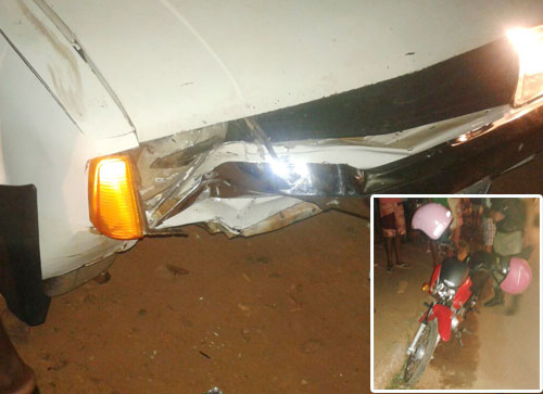 Acidente entre um carro e um motocicleta deixam duas pessoas feridas em Livramento