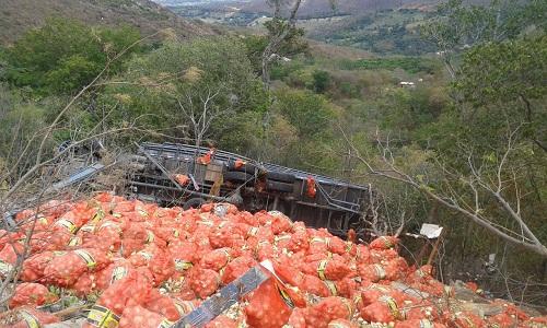 Caminhão carregado de cebolas cai em ribanceira na Serra das Almas