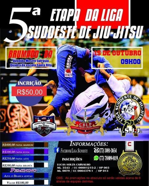 5ª etapa da Liga Sudoeste de Jiu-Jitsu acontece em Brumado e inscrições estão abertas