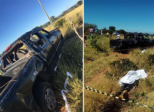 Uma pessoa morreu após caminhonete com quatro ocupantes capotar em Paramirim
