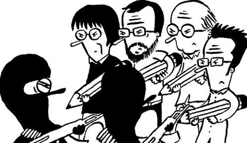 Cartunistas fazem desenhos em homenagem às vítimas de ataque a jornal francês