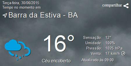 Temperatura continua baixa em Barra da Estiva, muito frio no 'Portal da Chapada'