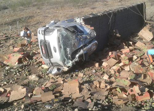 Caminhão com carga de manga tomba na BA – 262 trecho entre Aracatu e Vila Mariana