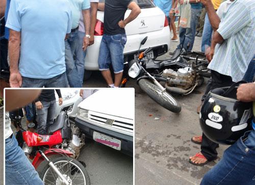 Duas motocicletas são atingidas por veículo na Mourão Guimarães, uma pessoa ficou ferida