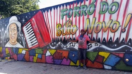 Arte e Alegria: Grafiteiro vem de São Paulo para dar um colorido ainda mais especial para o Forró do Sítio Novo 2016