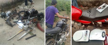 Homem é preso com drogas, motos roubadas e outros objetos Av. Ituaçu em Barra da Estiva
