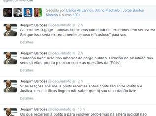 Em rede social, Joaquim Barbosa ataca ministro da Justiça e adversários