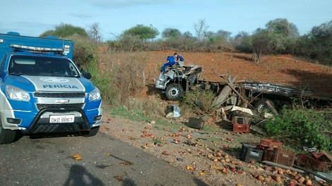 Caminhão tomba e duas pessoas morrem na BR – 030 próximo a Ibitira