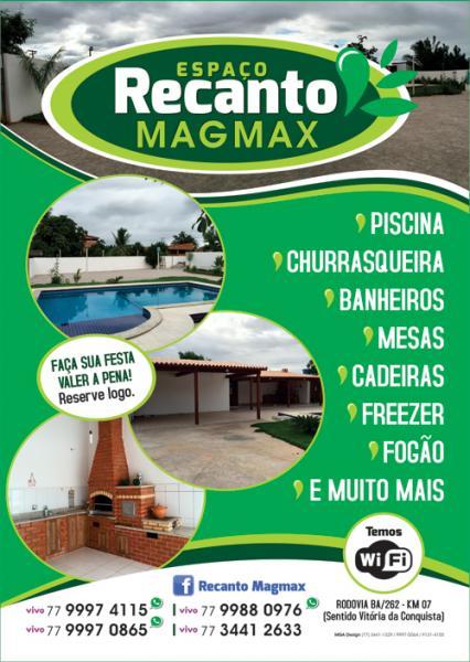 Garanta a alegria da sua festa, alugue o Espaço Recanto Mag Max