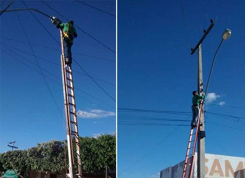 Em Malhada de Pedras a prefeitura inicia manutenção da iluminação pública