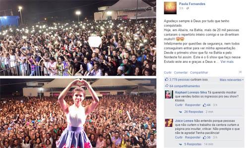 Bahia: Paula Fernandes mostra foto de show lotado em Abaíra após cancelamento em Conquista