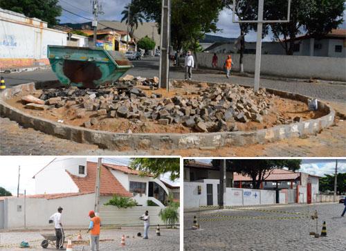 Rotatória está sendo construída entre as ruas Rio de Contas e Eusínio Tanajura