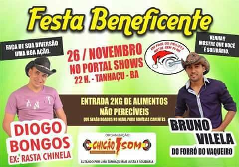 Grande show beneficente será realizado em Tanhaçu em prol do Natal Sem Fome