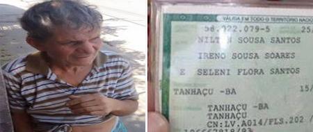 O tanhaçuense Nilton Souza Santos está perdido nas ruas de Guarulhos / SP